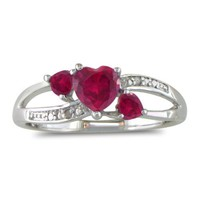 3/4ct Triple Heart Shaped Created Ruby and Diamond Ring in Sterling Silver