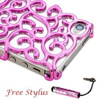 Chrome Electroplating Hollow Pattern PC Hard Back Case Cover for iPhone 4G 4S, Luxury Hot Pink