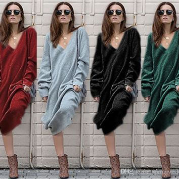 Big V Neck Long Loose Sweater Oversized Knitted Sweater Dress Autumn Knee Long Sleeve Bodycon Dress Female Robe Femme Pull FS5836