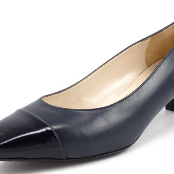 Bruno Magli Womens Shoes Size 38.5, US 8.5 Cap Toe Pumps Grey/Black New