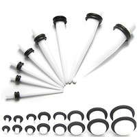 16 pieces! 1 Set Acrylic Flesh Tunnel Ear Plug Piercing + 1 Set Taper Stretcher Expander 14-000 gauge with O Rings White