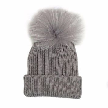 Winter Warm Knitted Bobble Baby Fur Pompom Hat Children Kids Girls Boys Pom Pom Beanie Raccoon Fur Pompon Bonnet Hat Cap Bonnet