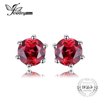 JewelryPalace VVS Red Round Gemstone Jewelry Natural Garnet Earrings Stud Genuine 925 Sterling Silver Jewelry