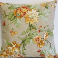 "Pillow Covers 18"" Set of Two - Beige Orange Yellow Red & Green Floral Pattern"