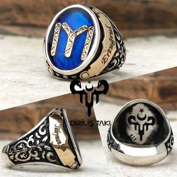 Engravable customizable turkish monogram sterling silver ring