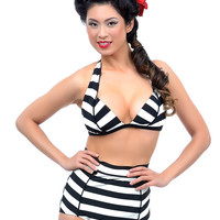 Unique Vintage Black & Ivory Striped Hepburn Bikini Top