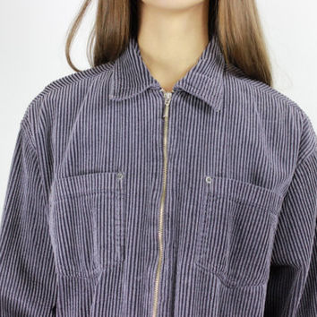 90s long sleeve shirt blue corduroy top collared shirt grunge top 90s jumper oversized corduroy jacket MEDIUM LARGE m lrg
