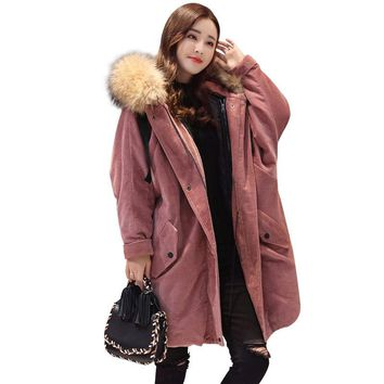 2017 Autumn/winter new women's parkas real lamb detachable liner large raccoon fur jacket corduroy coats loose clothing QH0978