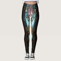 Blue and yellow symmetrical glass pattern leggings