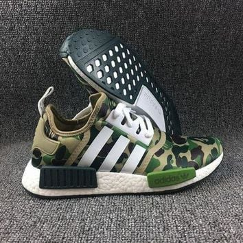ONETOW Adidas Boost Nmd R1 Bape BA7326 Women Men Fashion Trending Running Sports Shoes