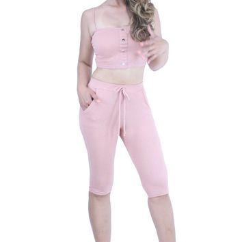Ribbed Knit Snap Button Crop Top with Pull Up Bermuda Shorts Outfit Set