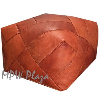 Stuffed ZigZag Rustic Brown- Square Moroccan Leather Pouf