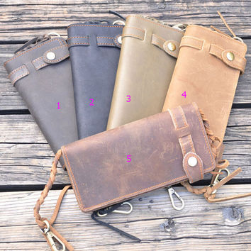 unique genuine leather wallet handmade card purse cool gift 42