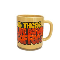 "Vintage ""Is There Life Before Coffee"" Mug 80s Retro Graphic 1984 C. M. Paula Cup Gift"
