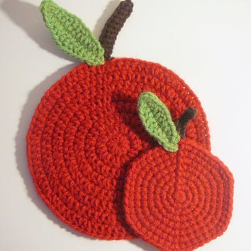 Apple Trivet PDF Crochet Pattern INSTANT DOWNLOAD