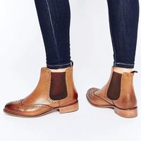 Dune Wide Fit Quenton Tan Leather Brogue Chelsea Boots at asos.com
