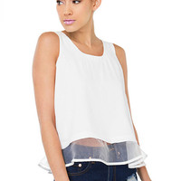 White Mesh Panel Back Zipper Cami