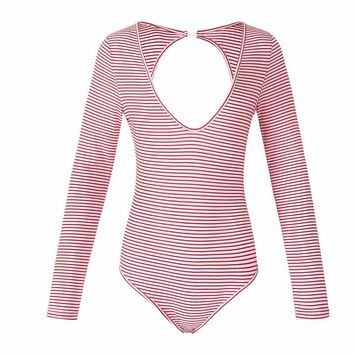 HeyGalSing Backless Knitted Bodysuit  Elegant Women Striped Long Sleeve Hollow Out Bodysuit 2017 New Sexy Vintage Party Bodysuit