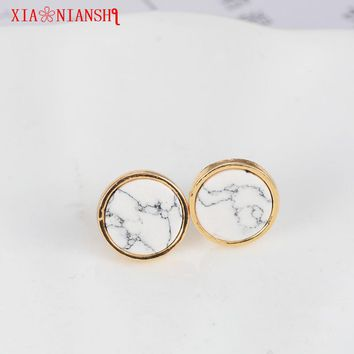 XIAONIANSHI New Arrival 2017 Trendy Gold Fashion Round Marbled White Faux Stone Gold Color Stud Earrings For Women jewelry Gift