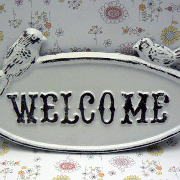 Bird Welcome Cast Iron Sign Distressed Classic White WELCOME Two Birds on Oval Sign Shabby Chic Cottage Chic Wall Door Plaque Sign