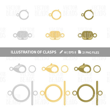 Lobster, Magnetic, Ring & Toggle clasp Clip Art. Jewelry Findings vector illustration