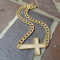 Gold Sideway Cross Necklace