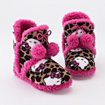 HELLO KITTY SANRIO Leopard Print Plush Fur-Lined Boot Bootie Slippers NWT $26