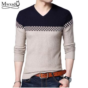 Mwxsd Winter New Arrivals Thick Warm Sweaters V-Neck Wool Sweater Men Brand-Clothing Knitted Cashmere Pullover Men 66203