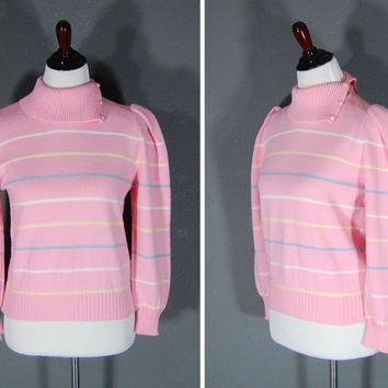 80's Pink Sweater / Stripes / Princess Shoulder / High Collar