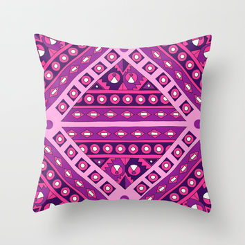 Tribal Diamond Throw Pillow by PeriwinklePeacoat