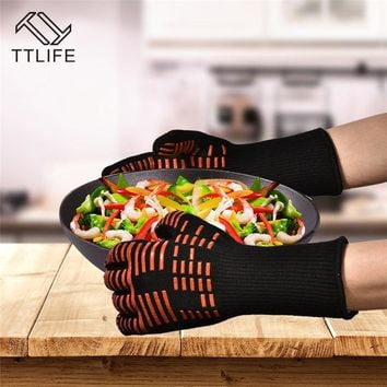 TTLIFE Extreme Heat Resistant Kitchen Barbecue Thick Silicon Oven Gloves BBQ Grill Long Glove For Extra Forearm Protection