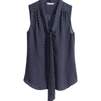 H&M - Sleeveless Tie Blouse