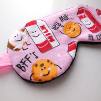 Sleep Eye Mask for Her, Pink BFFs Cookies and Milk Eyemask, Blindfold Nap Night Shade, Women Adult Child Girl, Cotton Satin Fleece Flannel
