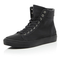 River Island MensBlack lace up hi-tops