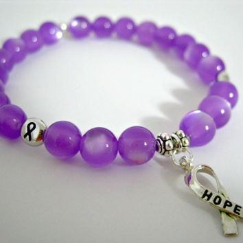 Cystic Fibrosis Awareness Bracelet, Save Babies, Crohn's Disease, Trisomy 18 Awareness, Awareness Jewelry, Hope Bracelet, Ribbon Awareness
