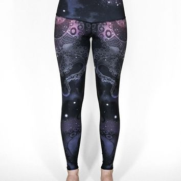Black Octopus Print Breathable Stretchy Womens Workout Leggings