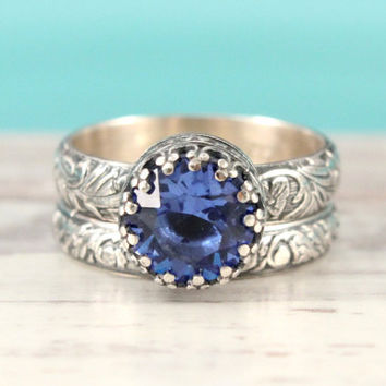 blue sapphire engagement wedding ring set sterling silver 8 mm swarovski sapphire crystal - Blue Sapphire Wedding Ring Sets