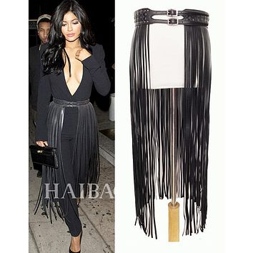 Fantastic Long Fringe Belt Black Leather Designer Belts for Women Long Tassels Pin Buckle Corset belt Spot on trendy! BG-006