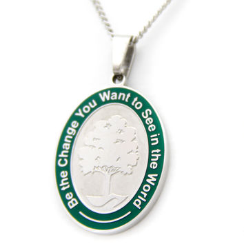Tree Of Life Green Border Pendant Necklace