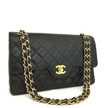 CHANEL Quilted Classic Limited Double Flap 25 Lambskin Chain Shoulder Bag/ 2GE x