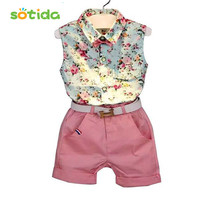 Clothing sets 2016 fashion sleeveless print summer style baby boys girls Shirt + shorts + belt 3pcs suit children clothing sets