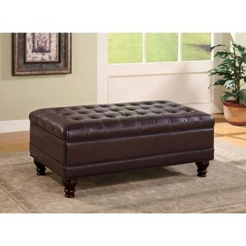 Traditional Tufted Ottoman, Dark Brown