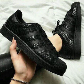 "Fashion ""Adidas"" Shell-toe Flats Sneakers Sport Scale pure black"