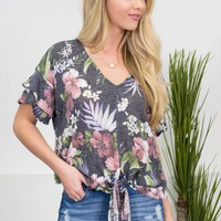 Tropical Grey Floral Knot Top