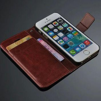 DCCKHY9 New arrival Luxury Flip leather case For iPhone 5s wallet case for iPhone 5s With Card Slot+stand holder  freeshiping