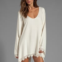 For Love & Lemons Angelic Long Sleeve Dress w/ Lace Trim in Ivory from REVOLVEclothing.com