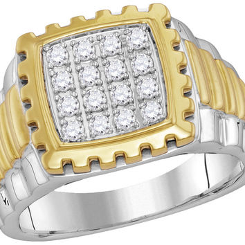 10kt Two-tone Gold Mens Round Diamond Notched Frame Square Cluster Ring 1/2 Cttw 114130