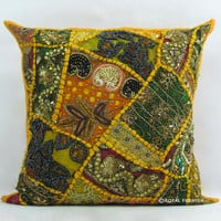 Yellow Indian Beaded Embroidered Patchwork Accent Throw Pillow Case Sham