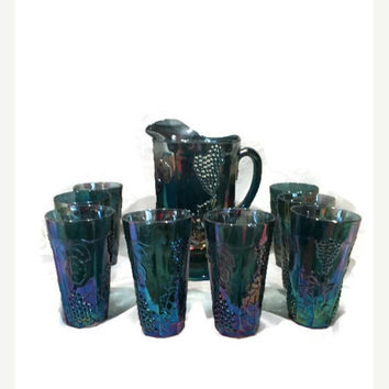 Blue Carnival Glass Lemonade Set, Harvest Grape Pattern Pitcher and 8 Large Tumblers, Indiana Glass Ice Tea Set