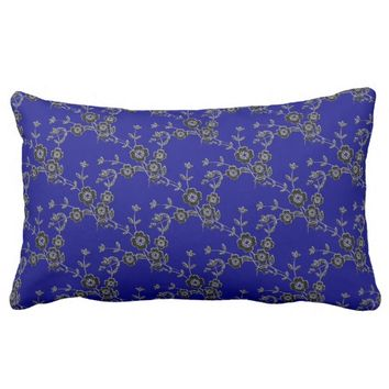 Floral Spray, Silver-Blue-LUMBAR THROW PILLOW